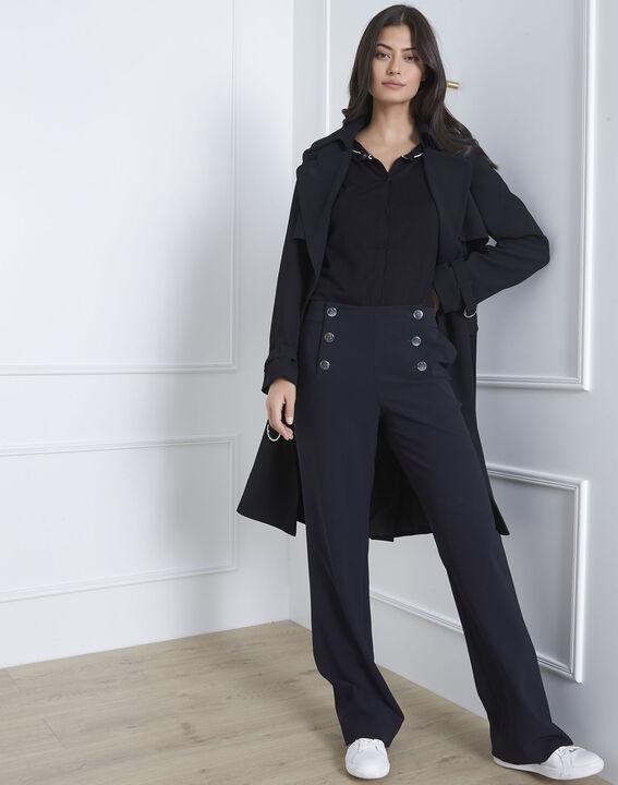 Schwarze, graphische Weste mit kontrastfarbenem Schrägband Avignon PhotoZ | 1-2-3