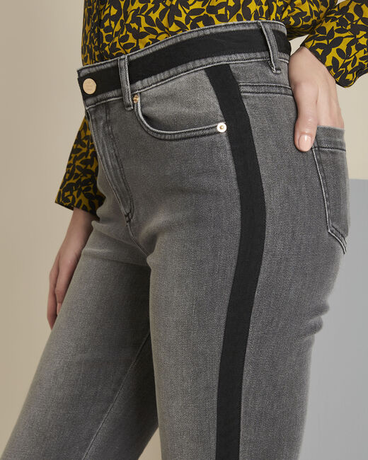 Vivienne grey slim-cut jeans with sidebands (2) - 1-2-3