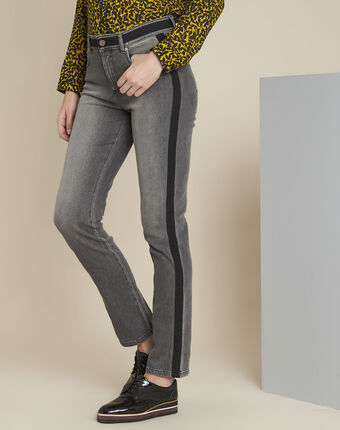 Vivienne grey slim-cut jeans with sidebands coal.