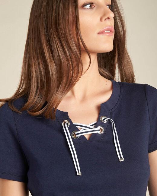 Marineblaues T-Shirt mit Ösen am Ausschnitt Evidence (1) - 1-2-3