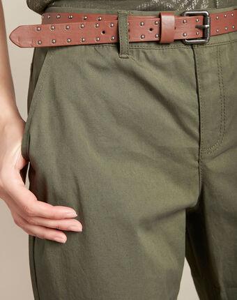 Francis slim-cut cotton 7/8 length trousers in khaki kaki.