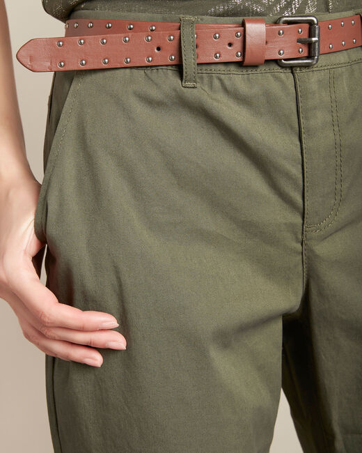 Francis slim-cut cotton 7/8 length trousers in khaki (1) - 1-2-3