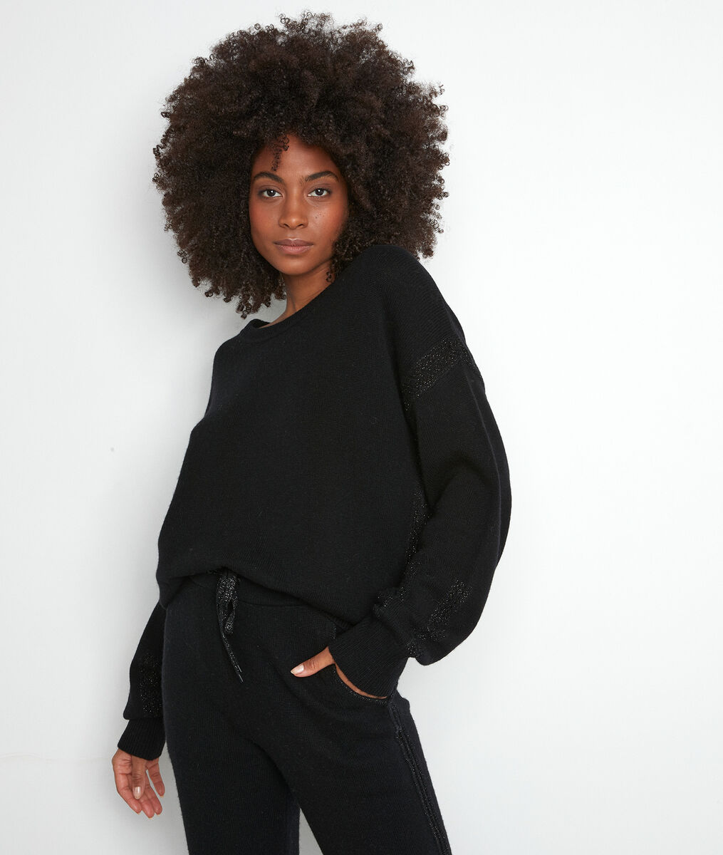 Pull en laine recyclé noir Tobby PhotoZ   1-2-3