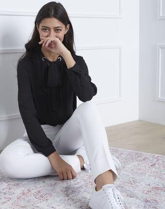 Pantalon blanc slim microfibre lara blanc casse.