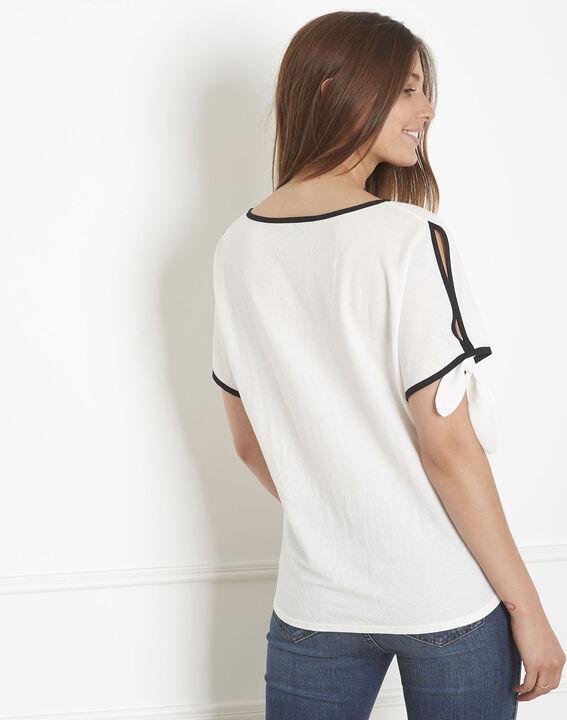 Ecrufarbenes T-Shirt mit kontrastierendem Schrägband Promesse (3) - Maison 123