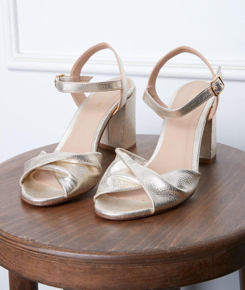 Sandales dorées à talon Gwen PhotoZ | 1-2-3
