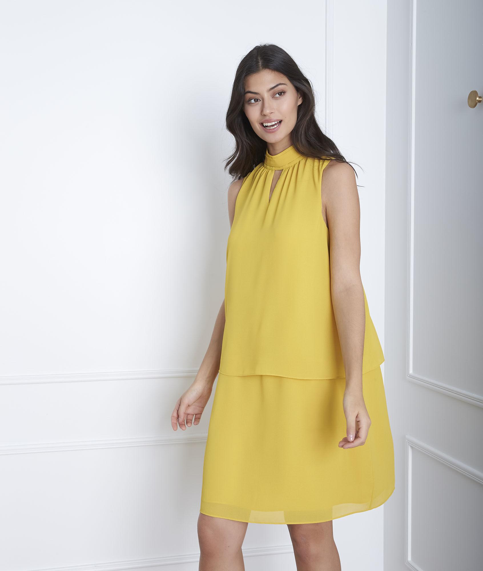 Hohem Gelbes Gelbes Mit Kleid Kleid Ausschnitt RL3A54j
