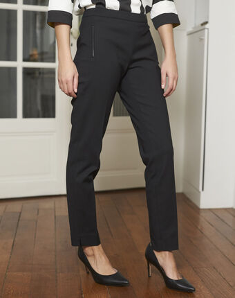 Holly slim black cotton pants black.
