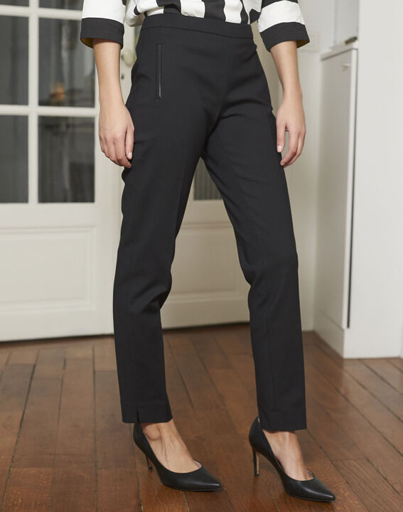 Pantalon noir slim en coton Holly (2) - 1-2-3