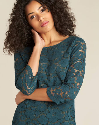 Geraldine forest green blouse with lace dark teal.