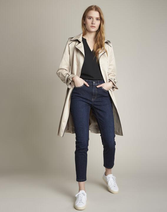 Genna V-neck black dual-fabric blouse (3) - 1-2-3