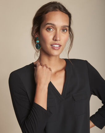 Genna black dual-fabric blouse with pockets black.