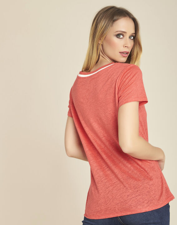 White linen T-shirt with coral neckline (4) - 1-2-3