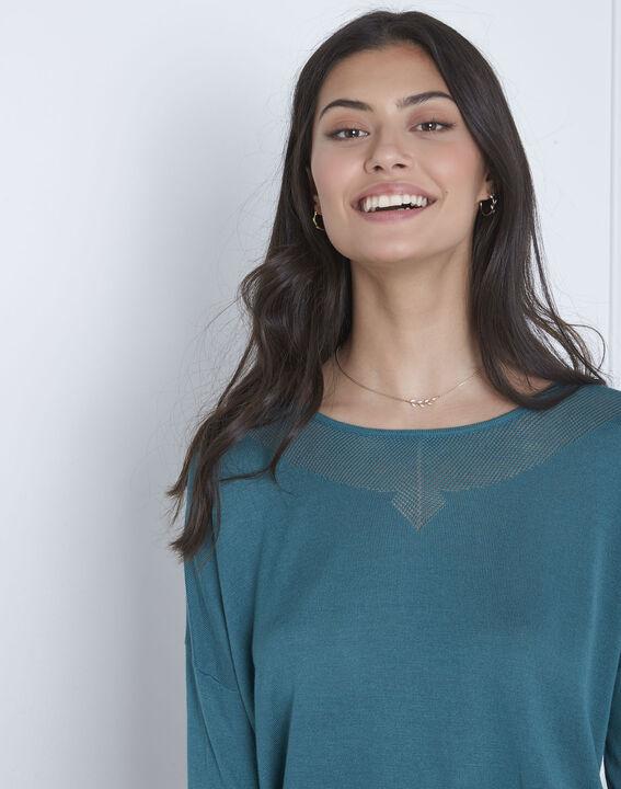 Blauer Pullover mit raffiniertem Halsausschnitt Avenir (3) - Maison 123
