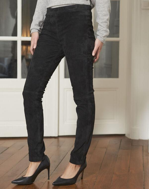 Pantalon noir en cuir velours Harvey (1) - 1-2-3