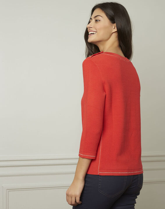 Avocado red pullover with buttons and lurex details (3) - 1-2-3