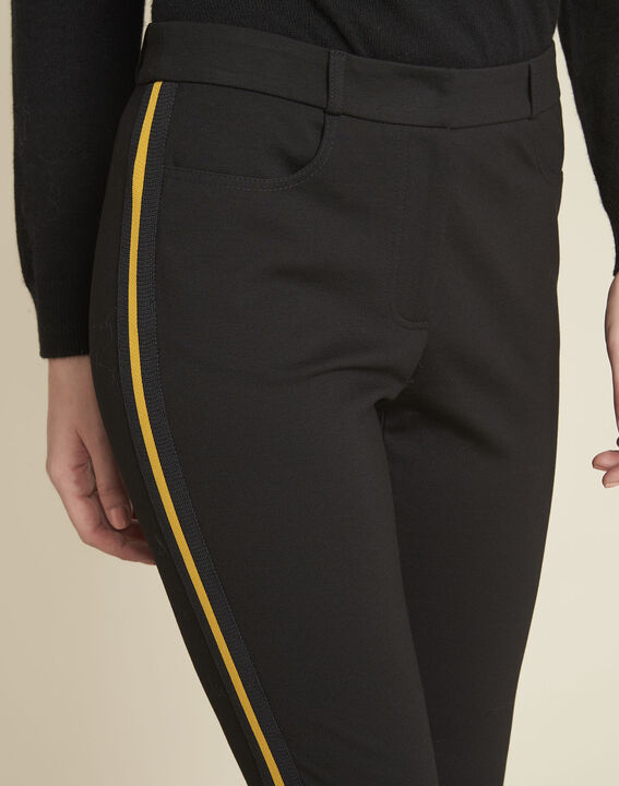 Helga black milano trousers with grosgrain band (3) - 1-2-3