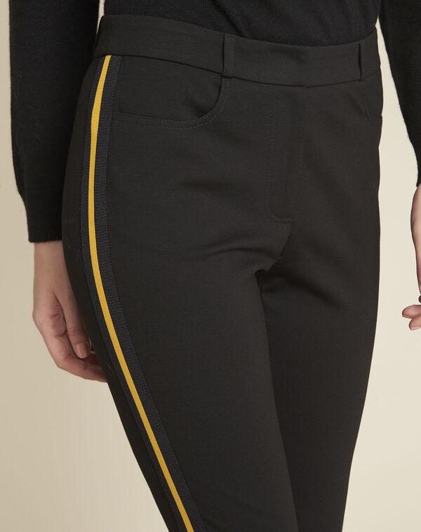Zwarte milano broek met band van grove korrel Helga (2) - 37653