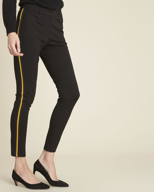 Helga black milano trousers with grosgrain band (2) - 1-2-3
