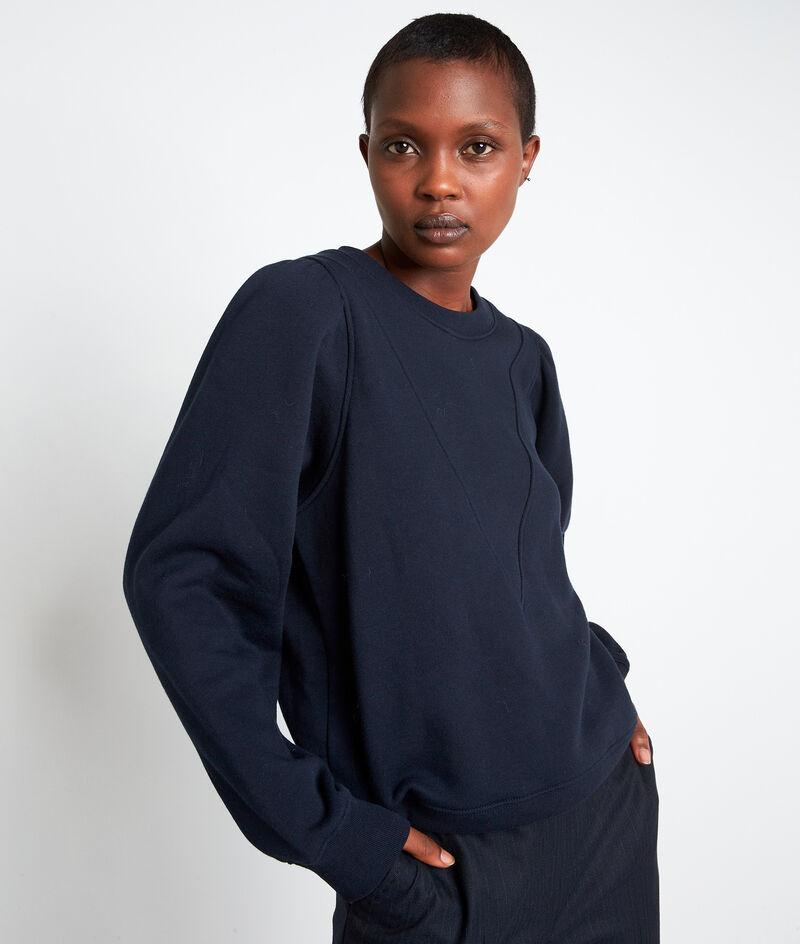 Sweat structuré en coton bleu marine Emir PhotoZ | 1-2-3