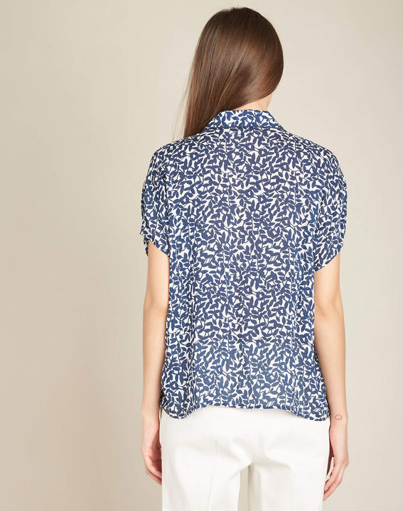 Gisors navy blue blouse with floral print (4) - 1-2-3