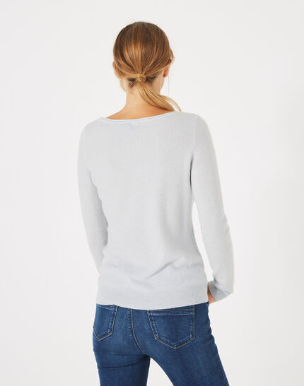 Petunia light blue, cashmere sweater with round neck (4) - 1-2-3