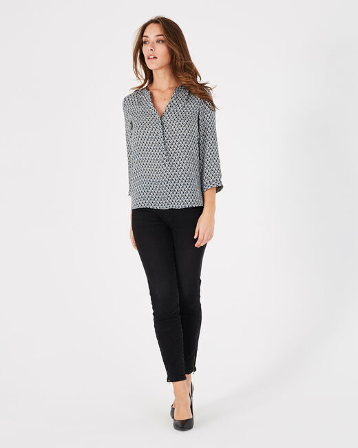Marineblaue Bluse mit Print und Tunika-Kragen Raffaella (2) - 1-2-3