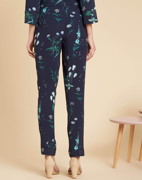 Douglas navy printed flowing trousers (4) - 1-2-3