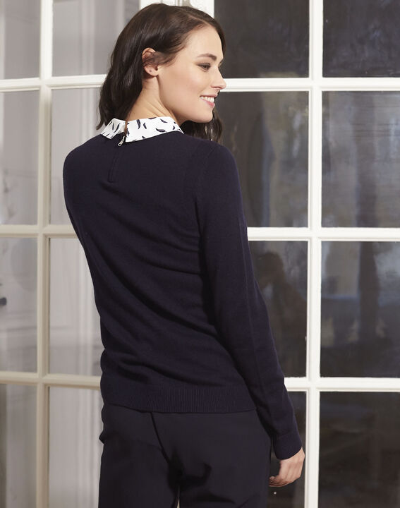 Boppy navy pullover with decorative shirt collar (4) - 1-2-3