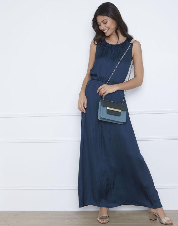 Langes Kleid in dunkelgrünem Satin Ivana (2) - Maison 123