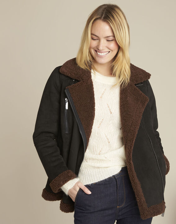 Black faux shearling jacket PhotoZ | 1-2-3