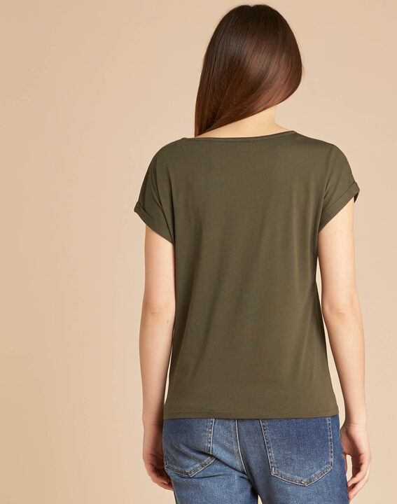 Epirrhoe short-sleeved khaki T-shirt with embroidery (4) - 1-2-3