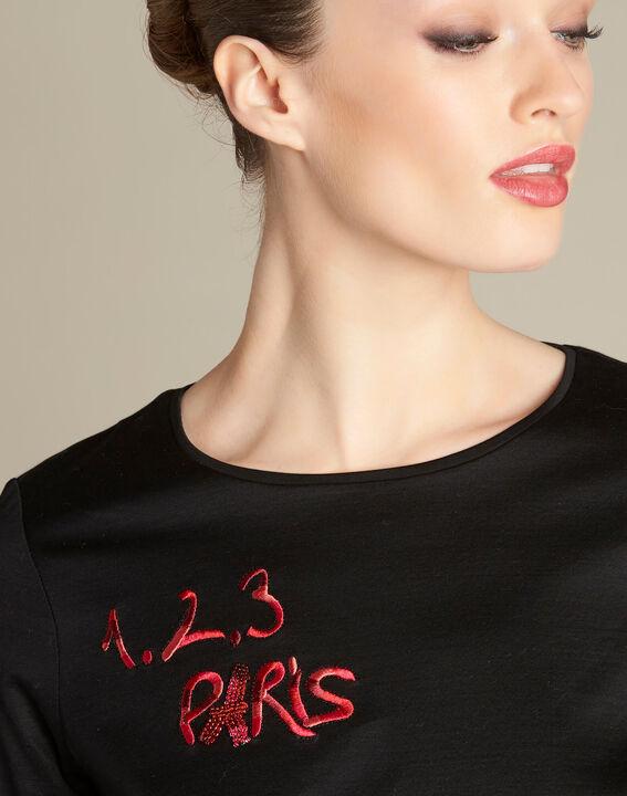 Schwarzes T-Shirt mit 123 Stickerei Ellipse PhotoZ | 1-2-3