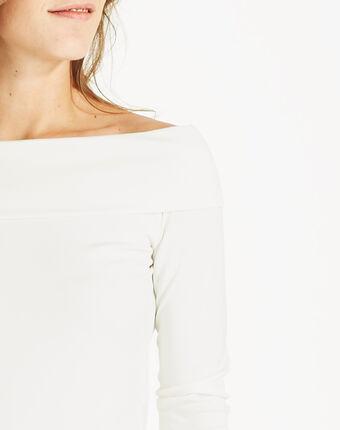 Tee-shirt blanc cassé col fantaisie bardo blanc casse.