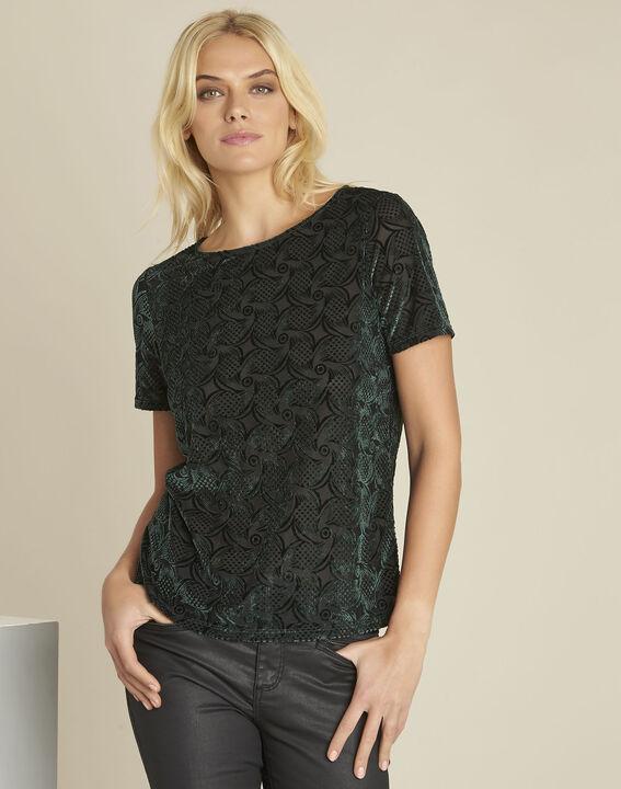 Tee-shirt vert foncé velours et dévoré Gelvet PhotoZ | 1-2-3