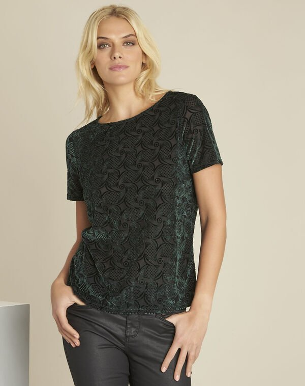 Gelvert dark green devore velvet t-shirt (1) - 1-2-3