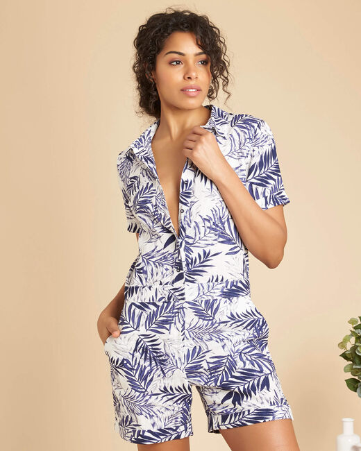 Palmina blue linen palm print short playsuit (2) - 1-2-3