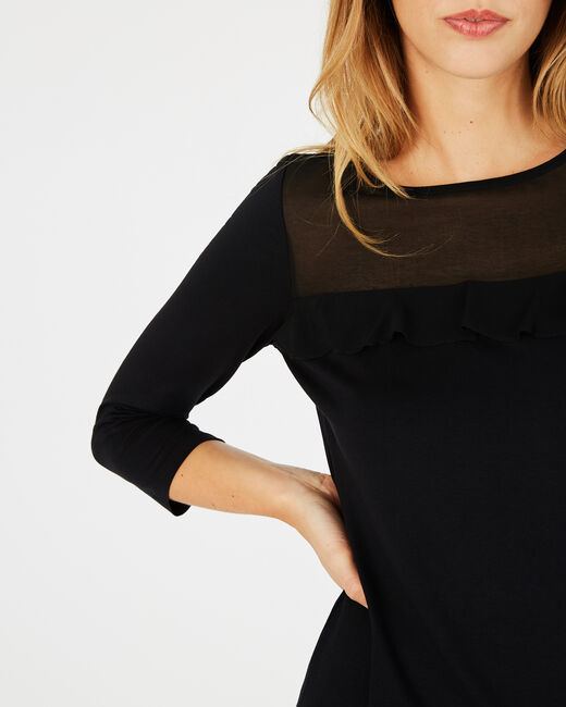 Buena frilled black T-shirt (2) - 1-2-3