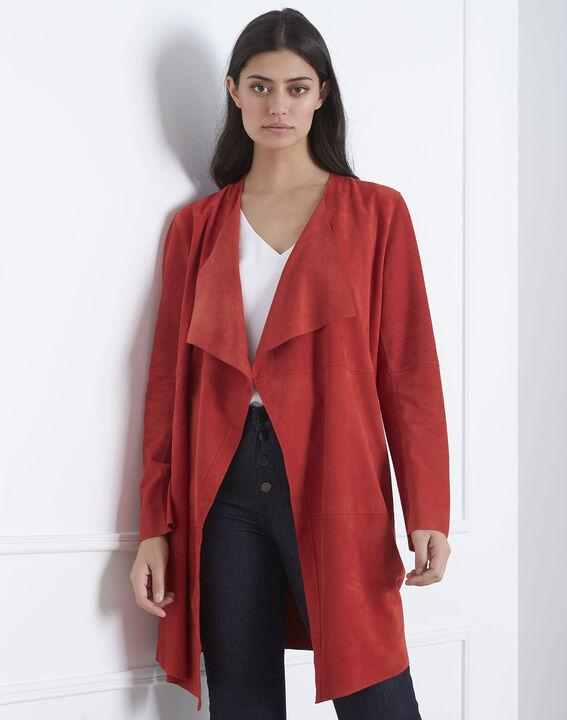 Manteau rouge col chale cuir velours Dgaston (2) - Maison 123