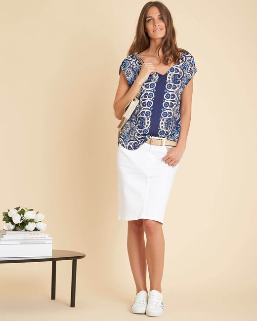 Gromy navy blue printed blouse (1) - 1-2-3
