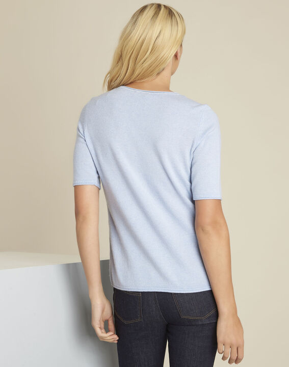 Ballet azure blue wool cashmere pullover with short sleeves (4) - 1-2-3