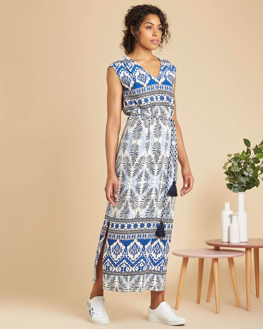 Papyrus long navy dress with ethnic print (2) - 1-2-3