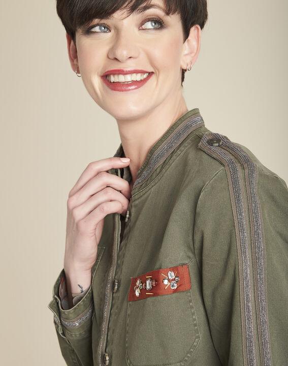 Khakifarbene Army-Jacke mit Stickerei Saphir (3) - 1-2-3