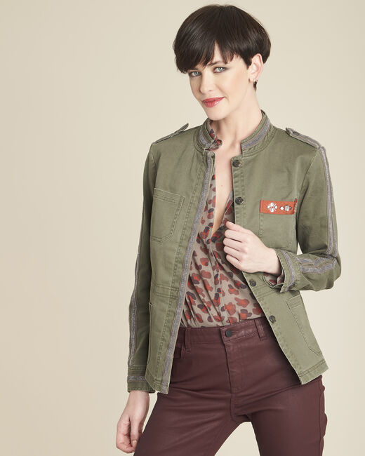 Saphir military-style khaki embroidered jacket (2) - 1-2-3