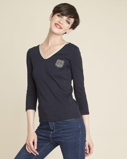 Tee-shirt marine col V plastron Glaive (2) - 1-2-3