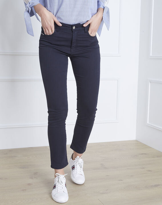 Marineblaue 7/8-Jeans Slim Fit Baumwollsatin Vendome (1) - Maison 123