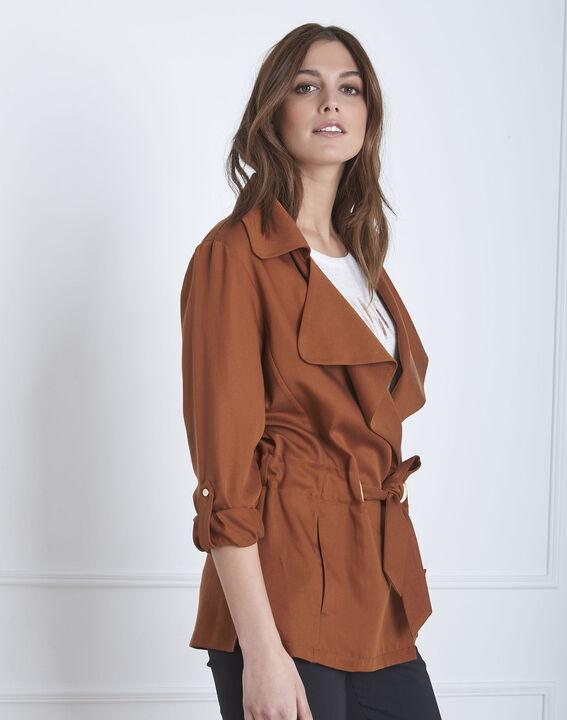 Fließende, mahagonifarbene Jacke mit Ösen-Details Felicita (1) - Maison 123