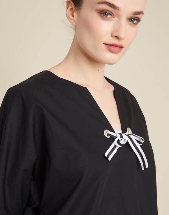 Gianna black poplin blouse with ribbon PhotoZ | 1-2-3