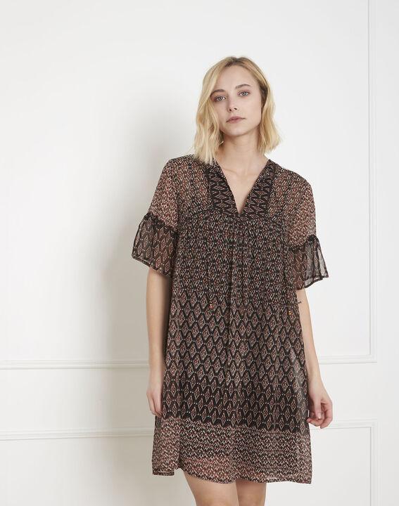 Robe noire imprimé ethnique Lucette PhotoZ | 1-2-3