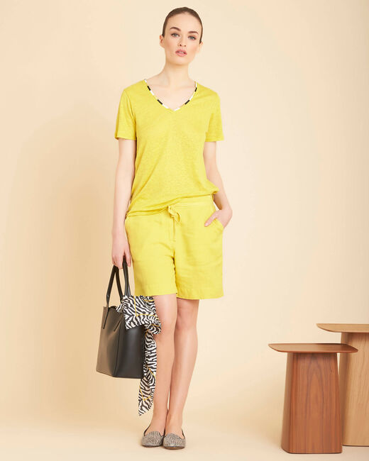 Citron yellow linen shorts (1) - 1-2-3